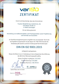 TMG ISO-Zertifikat